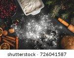 ingredients for christmas ... | Shutterstock . vector #726041587