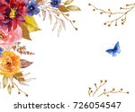 watercolor frame with flowers ... | Shutterstock . vector #726054547