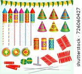 diwali crackers  rockets ... | Shutterstock .eps vector #726060427