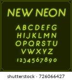 neon italic font type alphabet. ... | Shutterstock . vector #726066427