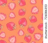 vector seamless strawberry... | Shutterstock .eps vector #726086353