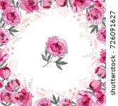 greeting card with round frame... | Shutterstock .eps vector #726091627