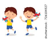 little boy with toy airplane | Shutterstock .eps vector #726104527