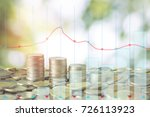 stacked of money coins on green ... | Shutterstock . vector #726113923