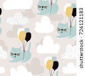 Stock vector seamless childish pattern with cute cats flying with balloon creative nursery background perfect 726121183
