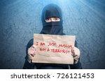 muslim girl in black hijab... | Shutterstock . vector #726121453