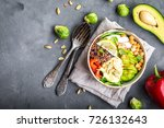 bowl with healthy salad on grey ...   Shutterstock . vector #726132643