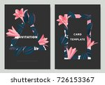 pink rain lilies and ficus... | Shutterstock .eps vector #726153367