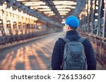 tourist with backpack walking... | Shutterstock . vector #726153607