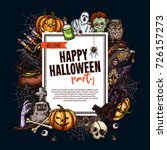 halloween monsters party poster ... | Shutterstock .eps vector #726157273