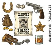 set with wild west and lucky... | Shutterstock .eps vector #726186283