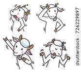 set of goat cartoon character ...   Shutterstock .eps vector #726229897