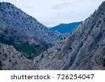 gray mountains with shrubs. | Shutterstock . vector #726254047