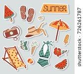 summer stickers beach cute... | Shutterstock .eps vector #726261787
