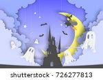 witch on the broom paper art... | Shutterstock .eps vector #726277813