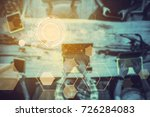 abstract technology icons with... | Shutterstock . vector #726284083