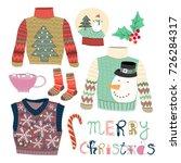 merry christmas. hand drawn... | Shutterstock .eps vector #726284317