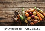fresh produce  potatoes  onions ... | Shutterstock . vector #726288163