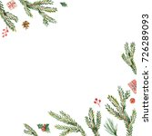 watercolor christmas frame with ... | Shutterstock . vector #726289093
