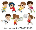 children of various types of... | Shutterstock .eps vector #726291103