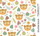 seamless pattern with head of a ... | Shutterstock .eps vector #726301177