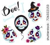 set of cartoons skull and bones ...   Shutterstock .eps vector #726322153