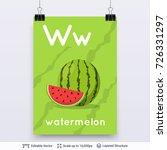 letter w and watermelon picture....   Shutterstock .eps vector #726331297
