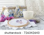 needlework.yarn and thread for... | Shutterstock . vector #726342643