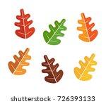 oak leaves set  autumn icon... | Shutterstock .eps vector #726393133