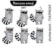 vector set of cute raccoon... | Shutterstock .eps vector #726398263
