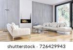 modern bright interiors. 3d... | Shutterstock . vector #726429943