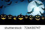 blue halloween background with... | Shutterstock .eps vector #726430747