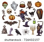 halloween holiday sketch icon...