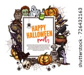 happy halloween sketch greeting ... | Shutterstock .eps vector #726432163