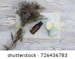 flat lay of green jar of hand...   Shutterstock . vector #726436783