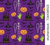 halloween seamless pattern.... | Shutterstock .eps vector #726438523