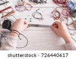 handmade jewelry making  female ...   Shutterstock . vector #726440617