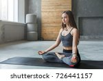 young woman in yoga class ... | Shutterstock . vector #726441157