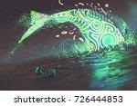 fantasy scenery of man on boat...   Shutterstock . vector #726444853
