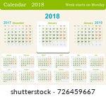 calendar grid for 2018 week... | Shutterstock .eps vector #726459667