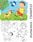 four seasons. a cute boy and... | Shutterstock . vector #726460513