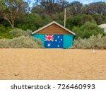 australian flag on beach... | Shutterstock . vector #726460993