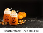 halloween cold pumpkin cocktail ... | Shutterstock . vector #726488143
