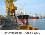 bulk cargo ship under port... | Shutterstock . vector #726531217