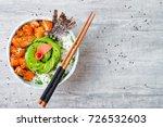 hawaiian salmon poke bowl with... | Shutterstock . vector #726532603