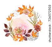 autumn watercolor wreath on...   Shutterstock . vector #726572503