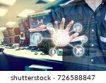 double exposure of engineer or... | Shutterstock . vector #726588847