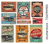 vintage road vehicle repair... | Shutterstock .eps vector #726590983