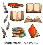 old books and ancient... | Shutterstock .eps vector #726592717