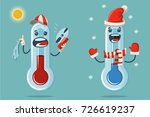 thermometer with a cute face... | Shutterstock .eps vector #726619237